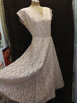 Vintage 1950's Pink Rayon Lace Pearl & Rhinestone Beaded Dress by Prima M