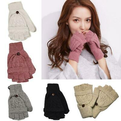 Women's Cable Knit Fingerless Mittens Winter Convertible Gloves with Flip Cover