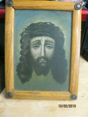 Excellent Original Antique Retablo On Tin Jesus On Veronica's Veil Framed