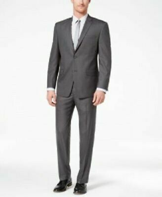MARC NEW YORK Two Button Slim Fit Stretch Suit Medium Gray 40L 33Wx33L NWT $395