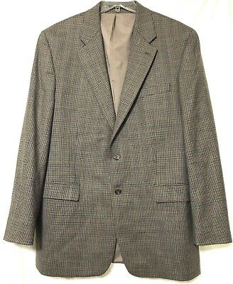 Lauren Ralph Lauren Mens Brown Tan Black Plaid Wool Blazer Sports Coat Size 44L