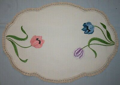 Large Vintage Embroidered Tulips Linen Doily