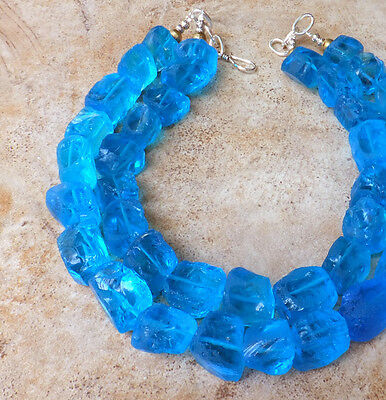 VIVID BLUE AQUA BIG QUARTZ Rough STONE STATEMENT NECKLACE XL Chunky JEWELRY