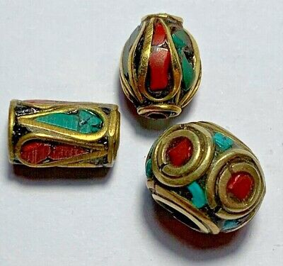 LOT OF 3 pcs LATE MEDIEVAL BEADS GOLDPLATED - COLORED PENDANT VERY NICE - RARE S