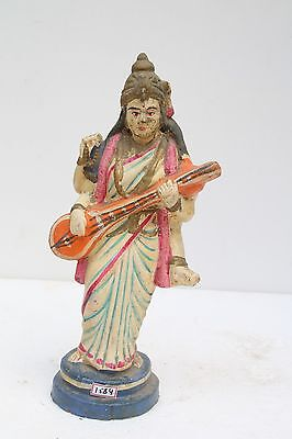 Antique Old Indian Multi Color Terracotta Goddess Saraswati Figurine NH1584