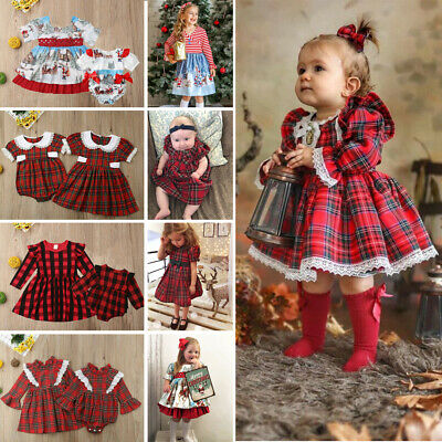 Toddler Baby Girl Xmas Clothes Sister Matching Romper Dress Santa Claus Outfits