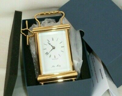 Superb John Morley 8 Day Gold Plated Solid Brass Carriage Mantel Mantle Clock
