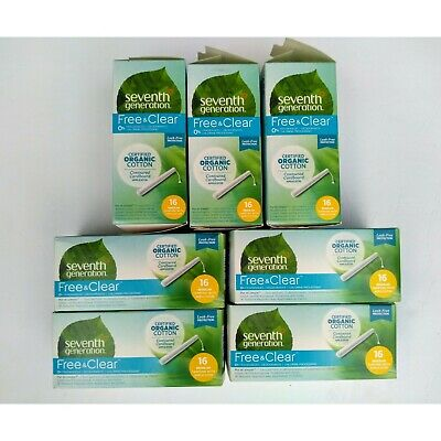 7 x 16=112 ct Seventh Generation Organic Cotton Tampons Regular Applicator