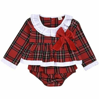 UK Xmas Toddler Baby Girl Christmas Romper Dress Bodysuit Plaid Outfit Clothes