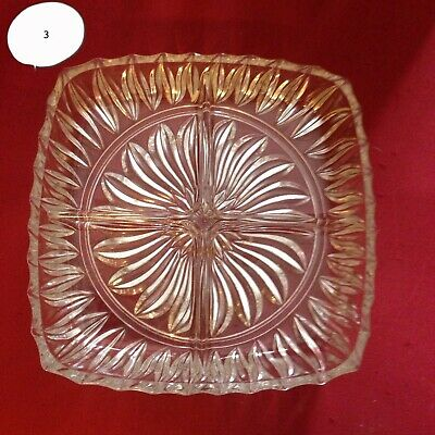 2x Vintage Cut Glass Divided Serving Bowl Dish - Ideal Nuts, Candy, Olives Etc.