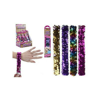 Reversible Sequin-Slap Bands Snap Band Bracelet Wristband Fi Girl Party Bag C4S1