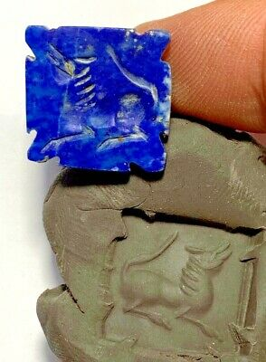 ANCIENT GREEK Lapis Lazuli Stone Intaglio Seal OF HORSE Bead Pendant 7gr 22mm