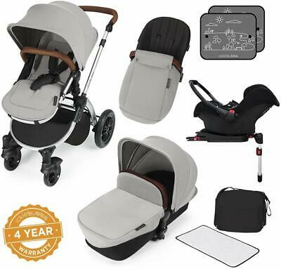 Pushchair Pram Buggy Stroller With Car Seat Isofix Base Rain Cover Footmuff