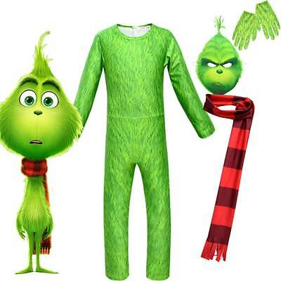 Kids Boys The Grinch Cosplay Costume Fancy Dress Christmas Party Jumpsuit Outfit
