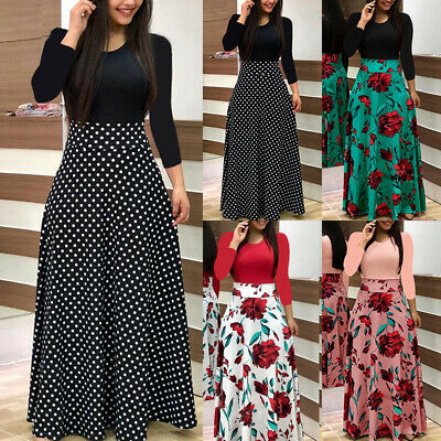 UK Womens Party Evening Boho Maxi Dress Ladies Holiday Long Sleeve Cocktail CKTP