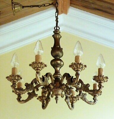 Vintage brass French Rococo chandelier Baroque ceiling light  8 arm  shabby Chic