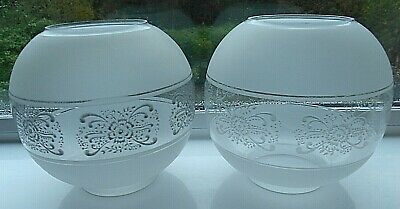 Antique Victorian Opaque/Clear Etched Glass Floral Design Lampshades x 2