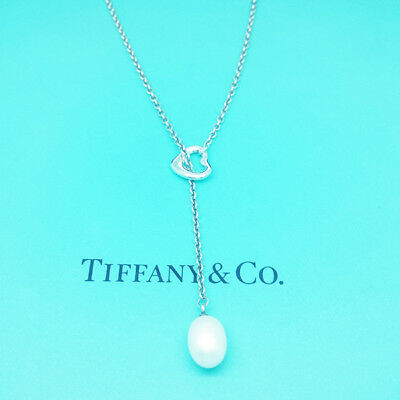 Tiffany & Co Peretti Solid Sterling Silver Pearl Lariat Necklace - Plush / Real