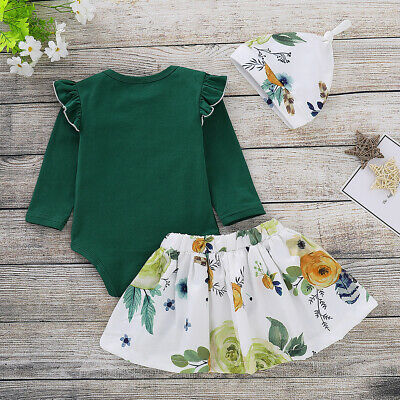 Sn_ 3Pcs/Set Kids Girl Ruffles Romper Floral Pleated Skirt Hat Outfit Top Clot