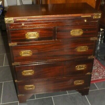 Vintage Mahogany & Brass Military Chest of Drawers