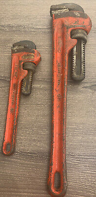 """Ridgid Heavy Duty Pipe Wrench Set 10"""" & 18"""" Made In USA"""