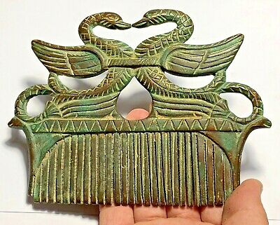 Museum Quality Ancient Roman Bronze 2 Geeses Heads Comb-Very Rare Ca 200-400 Ad