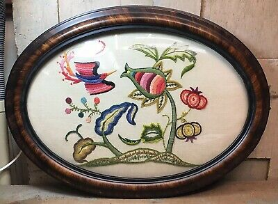 Antique Large Oval Convex Bubble Glass Tigerwood Picture Frame w/Hand Embroidery