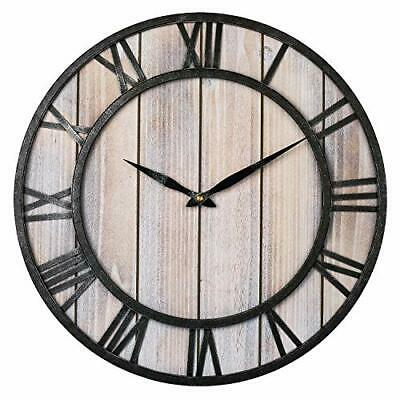Large Farmhouse Wall Clocks, 18 Inch Vintage Roman Numerals Silent Light Wooden