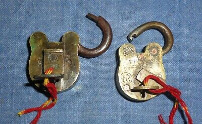 Vintage Old Collectible Decorative Solid Brass Padlock Lock Pair With Key
