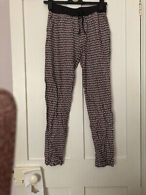 Girls Next Trousers Age 12 Grey And Pink Dots Bnwot
