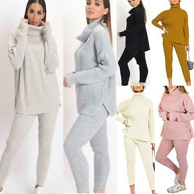 Womens Ladies Chunky Knitted High Roll Neck Top Bottom Lounge Wear New Tracksuit