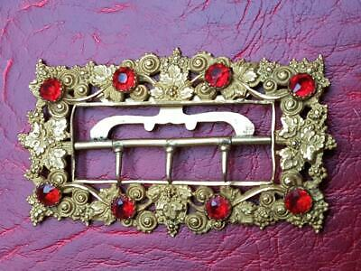 Vintage Buckle set with red faceted stones. Gold tone Gilt  Victorian style