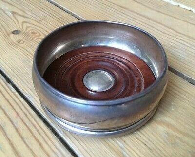 Small Solid Sterling Silver Wine Bottle Coaster Turned Wood Base 95mm wide