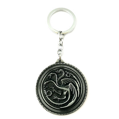 Game of Thrones Targaryen Silvertone Movie/TV Charm Pendant Key Chain
