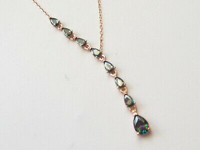 Rose Gold 925 Sterling Silver  Mystic Topaz Turkish Good Luck Necklace