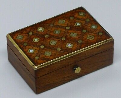 Antique Late 19th Century Kingwood / Brass /Mother of Pearl Box / Casket –TAHAN?