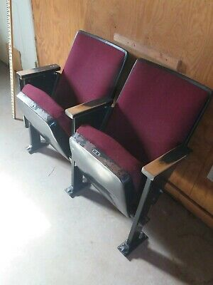 Auditorium Theater Seating Cinema Movie Chairs Seats Folding Cushion Burgundy