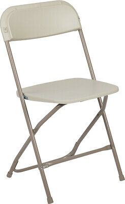 (50 PACK) 600 Lbs Capacity Commercial Quality Beige Plastic Folding Chairs