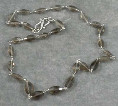 Light Gray Brown Smoky Quartz Hand Faceted flat Oval Gemstone Necklace 17""