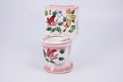 "Rest Your Ash Here Floral Vtg Painted 5"" Toilet Potty Ashtray Table Wall D-511"