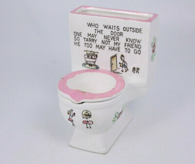 Norcrest Japan Toilet Poem Vtg Humor Ceramic Potty Ashtray He Too May Have To Go