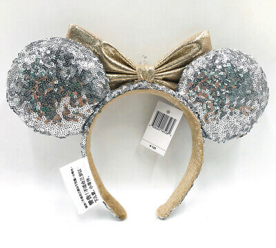Minnie Ears Disney Parks Castle Jewel Silver Sequins Mickey Mouse Bow Headband