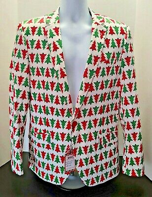 New Suslo Couture Mens Christmas Tree Holiday Blazer Jacket Sportcoat L 42 Slim