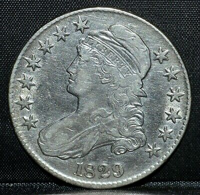 1829 Capped Bust Half Dollar ✪ Vf Details ✪ 50C Silver Cleaned L@@K Now◢Trusted◣