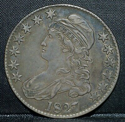 1827-P Capped Bust Half Dollar ✪ Ch-Xf ✪ 50C Silver Square Base 2◢Trusted◣