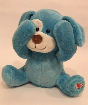 Peek A Boo Blue Puppy Dog Baby Talking Plush Animated Giggles Toy  9.5""