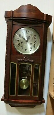 Vintage Mahogany Wooden MAXIM Pendulum Wall Clock With Key