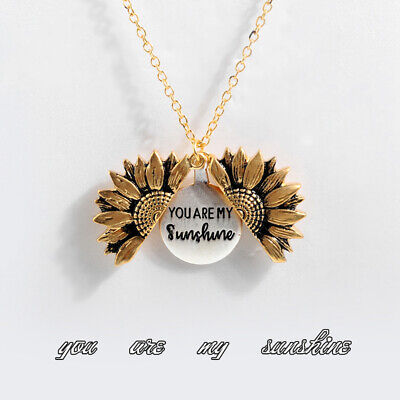 Clavicular Chain You Are My Sunshine Open Locket Pendant Necklace Sunflower
