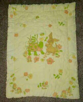 "Vtg 70s Baby Quilted Blanket 30"" x 40"" Turtle Yellow"