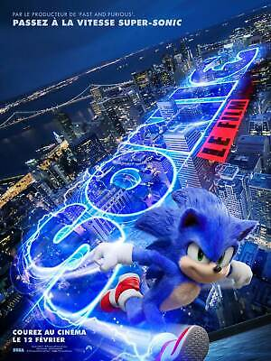 D-20 Sonic the Hedgehog Movie Poster 24x36 32x48 2020 James Marsden Art